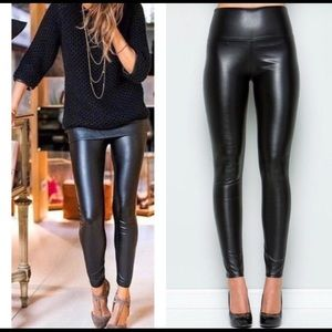Couture Black High Waist Faux Leather Leggings